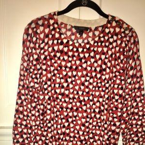 NWOT J Crew M Tippi heart button shoulder sweater